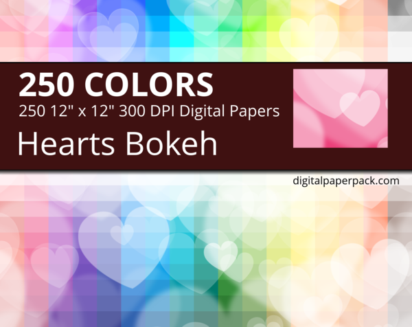 Seamless bokeh hearts pattern with heart shaped lights.