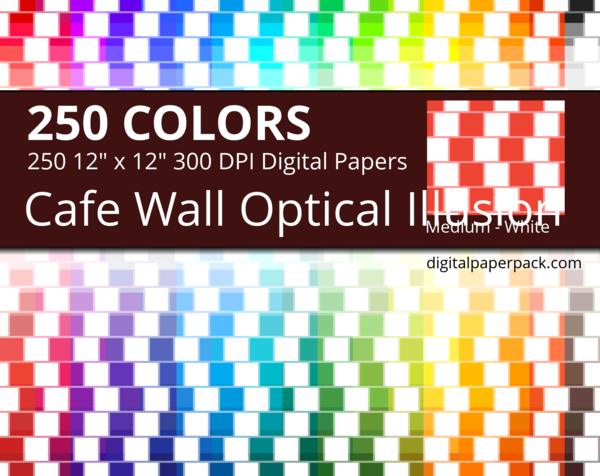 Café wall optical illusion on white background.