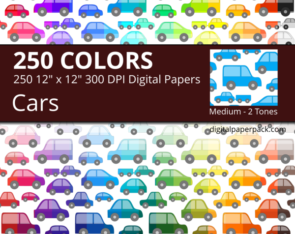 Colored cars on white background.