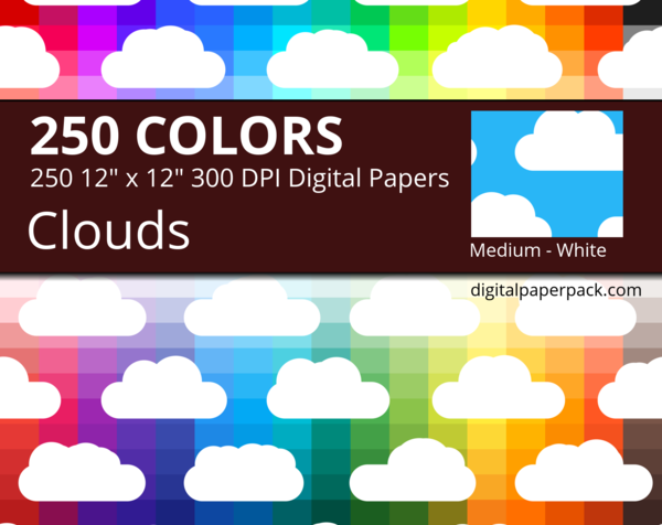 White clouds on colored background