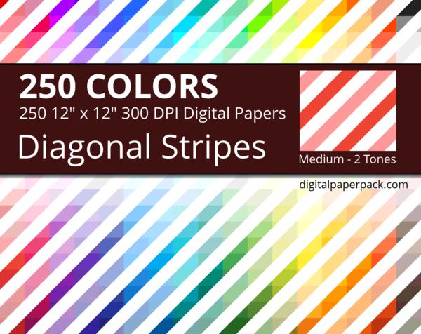 Medium 2 tones diagonal stripes on white background
