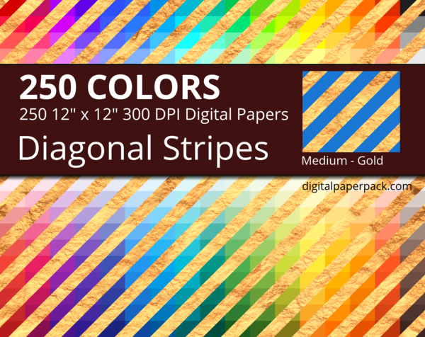 Medium golden diagonal stripes on colored background with a gold texture