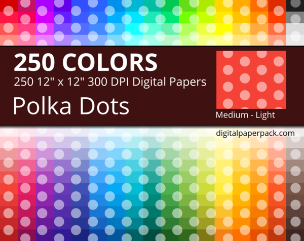 Medium lightly colored dots on colored background