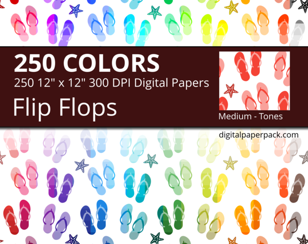 Multiple tones flip flops pattern and starfishes.