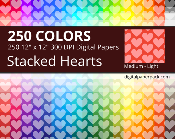 Medium lightly tinted stacked hearts on colored background