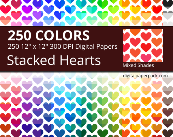 Medium mixed shades stacked hearts on colored background, with hearts of slightly different shades and tints on a white background.
