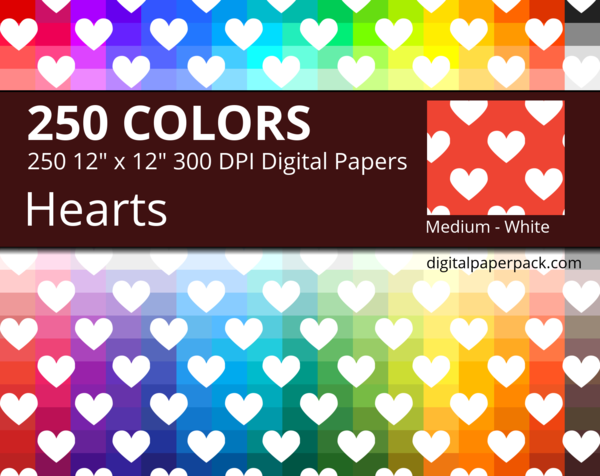 Medium white hearts on colored background