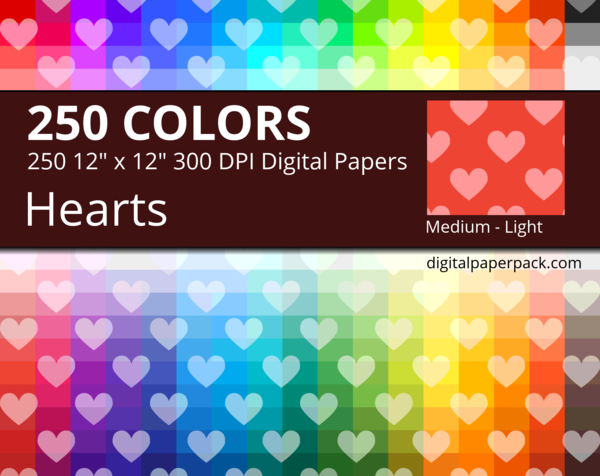 Medium lightly tinted hearts on colored background