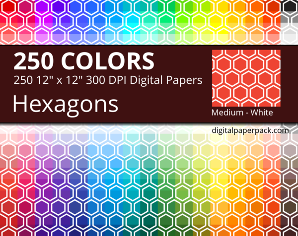 Medium white hexagons on colored background