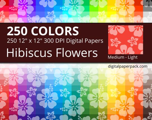 Medium lightly tinted Hawaiian hibiscus flowers on colored background