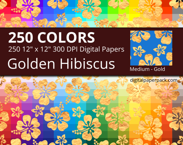 Medium gold hibiscus flowers on colored background. The large gold flowers have a beautiful golden texture.