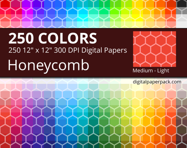 Medium lightly tinted honeycomb on colored background