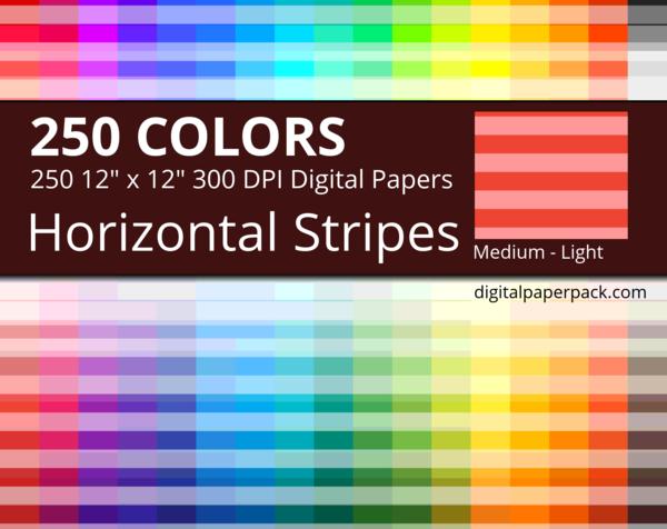 Medium 2 tones horizontal stripes on white background