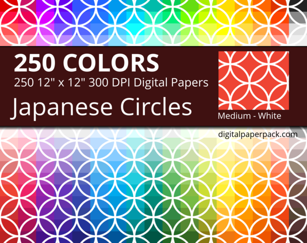 Medium white Japanese intersecting circles / Shippou pattern on colored background