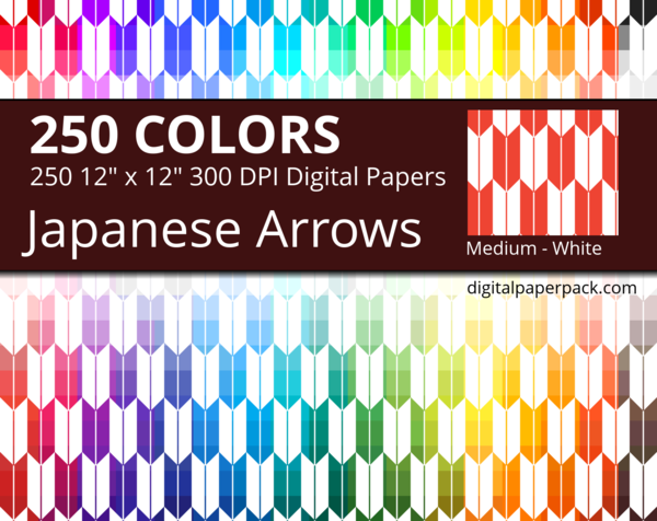 Medium white Japanese Arrows on colored background