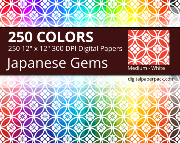 Medium white Japanese flowers and gems / Hanawachigai Shippou + Hanabishi pattern on colored background