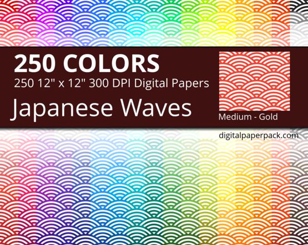 Medium white Seigaha / Japanese Waves on colored background