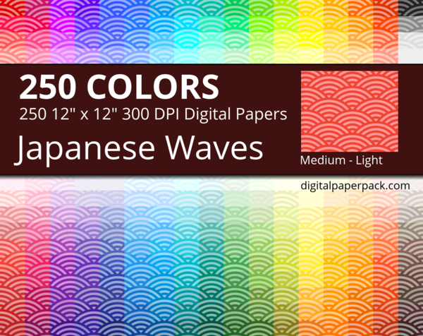 Medium lightly colored Seigaha / Japanese Waves on colored background