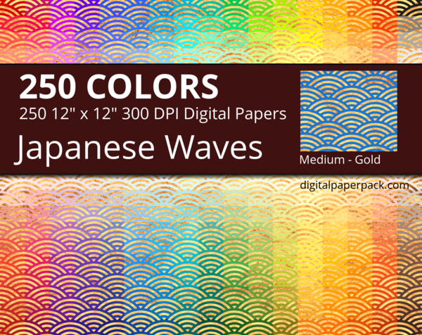 Medium gold Seigaha / golden Japanese Waves on colored background