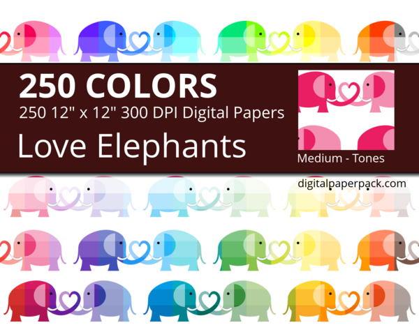 2 tones love elephants and heart on white background.