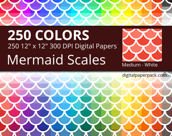 Medium white Mermaid Scales / Fish Scales / Round Tiles on colored background