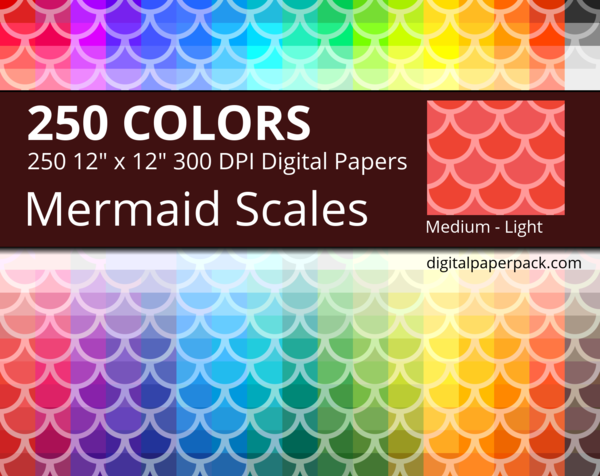 Medium lightly colored Mermaid Scales / Fish Scales / Round Tiles on colored background