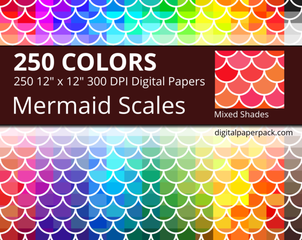 Medium mixed shades Mermaid Scales with scales of slightly different shades