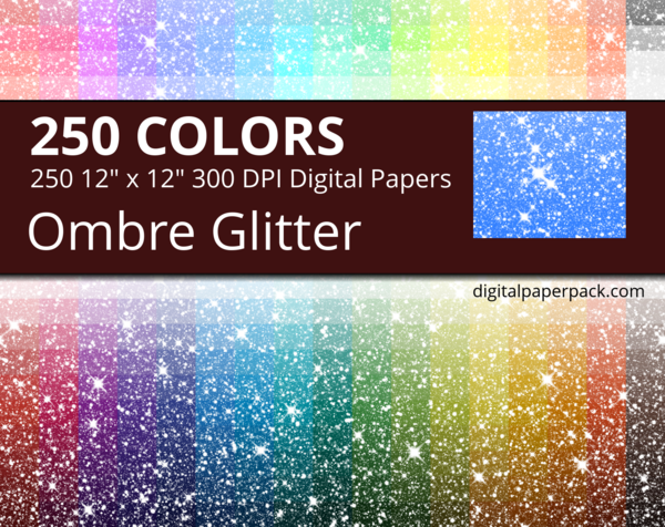 Ombre glitter digital papers.