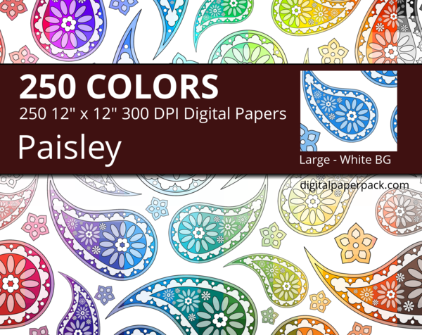 Large flower paisley pattern on a white background.