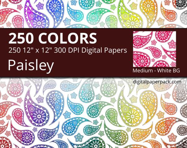 Medium flower paisley pattern on a white background.