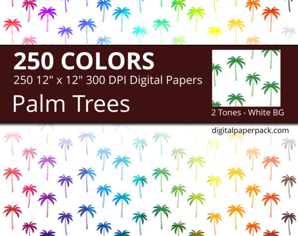 Medium 2 tones Japanese Palm Trees on white background
