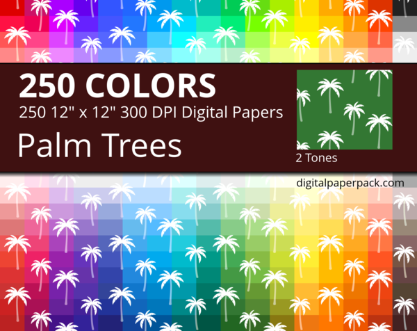 Medium 2 tones Japanese Palm Trees on colored background