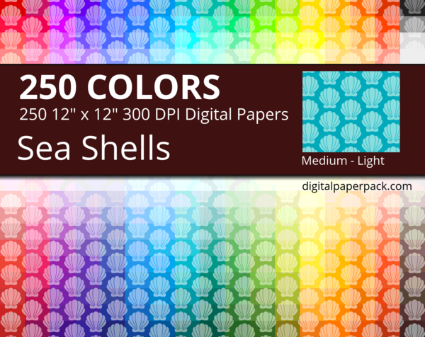 Medium lightly tinted sea shells on colored background