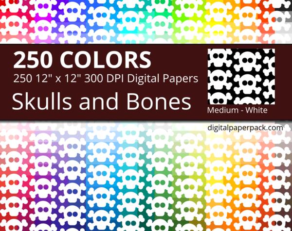 White skulls on colored background