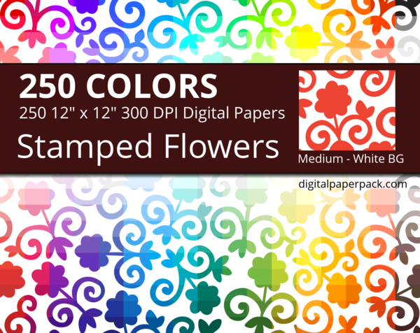 Color stamped flowers on a white background.