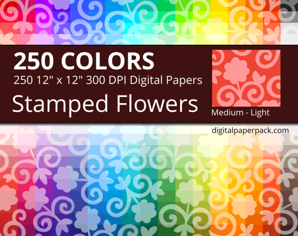 Lightly tinted stamped flowers on a colored background.