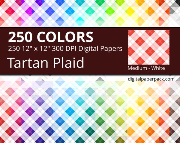 Diagonal medium white Tartan / Plaid pattern on colored background