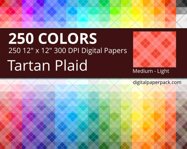 Diagonal medium lightly tinted Tartan / Plaid pattern on colored background