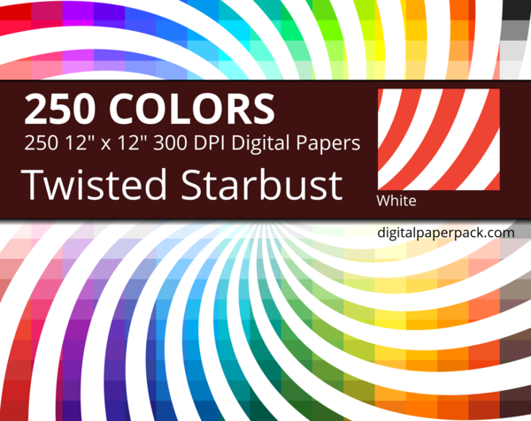 Medium white twisted starburst / sunburst swirl on colored background