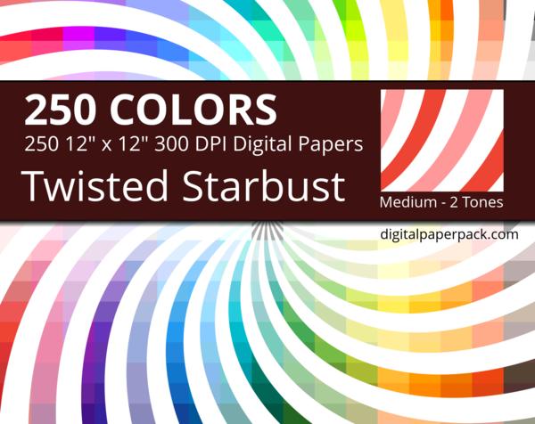 Medium 2 tones twisted starburst on white background