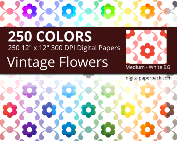 Colored vintage flowers and leaves on a white background