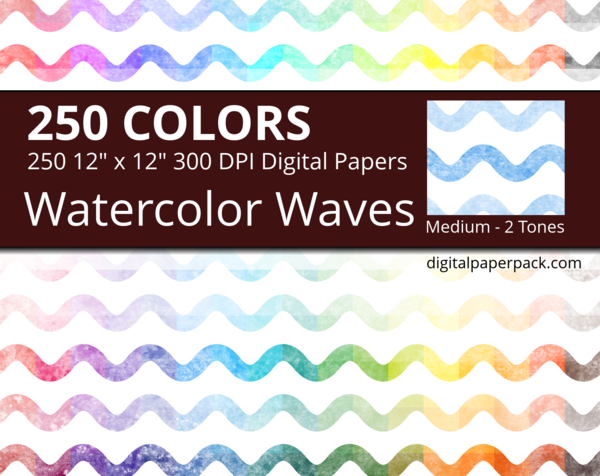 Medium watercolor waves on white background