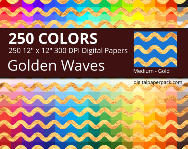 Medium golden waves on colored background with a gold texture